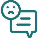 Unhappy face icon for unwanted conversation
