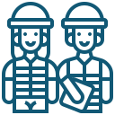 Construction female and male worker icon